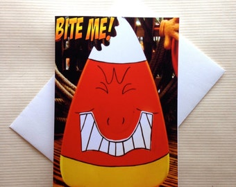 Funny Halloween Card - Funny Candy Corn Card - Bite Me Card - Halloween Card
