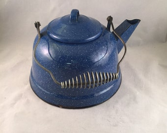 Blue Speckled Enamelware, Graniteware Tea Kettle