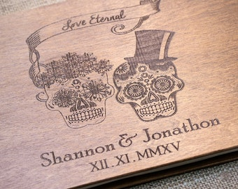 Skull, Skeleton, Halloween, Wedding Guest Book, Custom Guest Book, Wedding, Autumn Wedding, Guest Book Ideas, Halloween Wedding, Guest Book