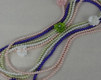 "Faux 36""Pearl Necklace,36""Pink Pearl Necklace,36""White Pearl Necklace,Green 36""Pearl Necklace,PurplePearl Necklace,Photo Prop 36""Necklace"