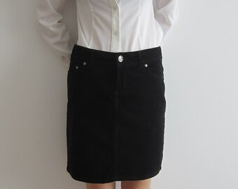 Women's Black Corduroy Mini Skirt Back to School Pencil Skirt  Medium Size