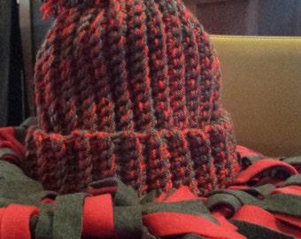 Hand Crocheted Hat and Polar fleece Scarf set