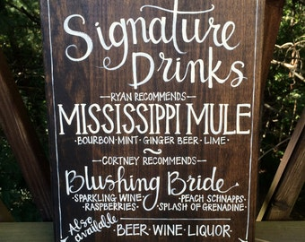 Custom Signature Drinks Sign - Bride & Groom - Walnut Stain Background