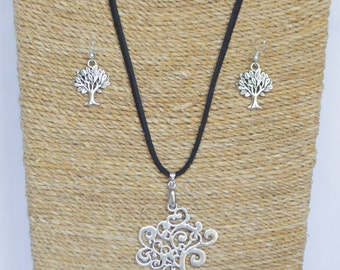 Tibetan Silver and Black Suede Tree of Life Jewellery Set