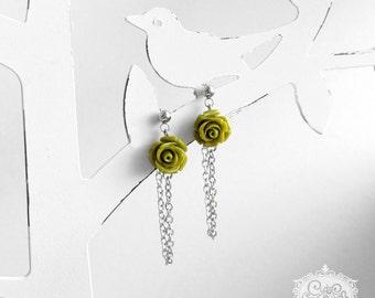 Ich bin Luxus - 'riot of FLOWERS green' stainless steel floral earrings