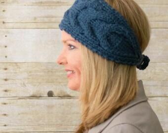 Cable Knit Headband, Knit Headband, Ear Warmer, Blue  - Ready to Ship