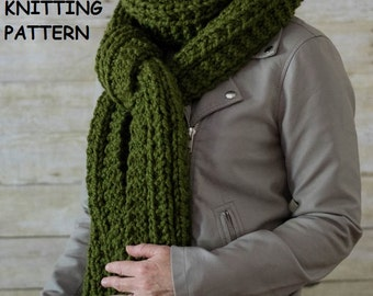 PDF KNITTING PATTERN, Extra Long Chunky Knit Scarf, Cable Knit Scarf, The Twisted Stitch Scarf