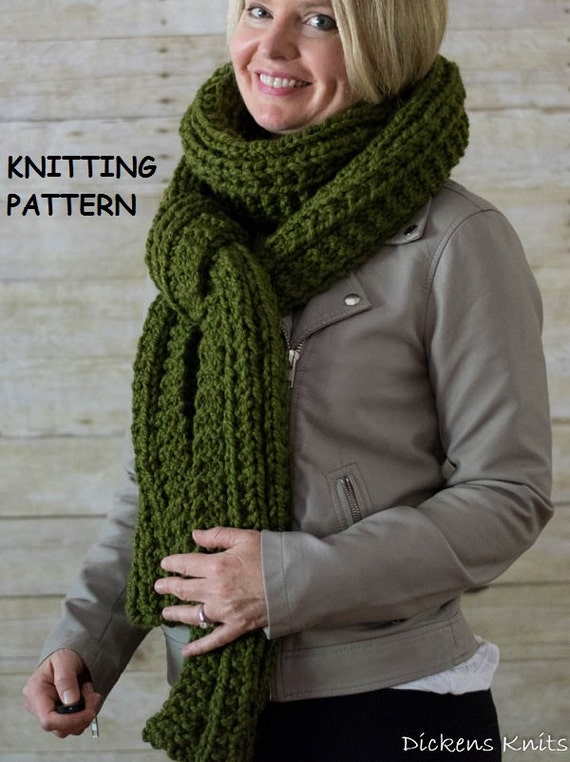 Knitting Pattern For Long Scarf : PDF KNITTING PATTERN Extra Long Chunky Knit Scarf Cable Knit