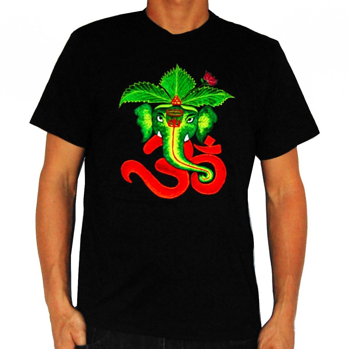 AUM Ganesha T-Shirt Blacklight Handmade Embroidery No