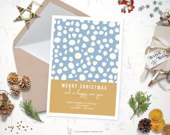 Printable watercolor christmas card holiday card 5 x7 do printable modern snow christmas card holiday card 5 x7 do it yourself customizable solutioingenieria Gallery