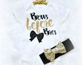 Baby girl clothes bows before bros  Black and Gold Glitter (bodysuit only) girls infant baby baby shower gift