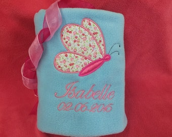 Personalised Baby Blanket Fleece Embroidered Christening  Newborn Gift Girl