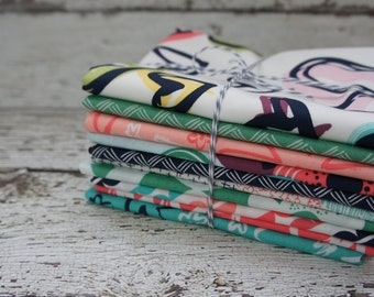 CLEARANCE Fat Quarter Bundle Happy Home Fabric by Sew Caroline for Art Gallery Fabric AGF Fabric