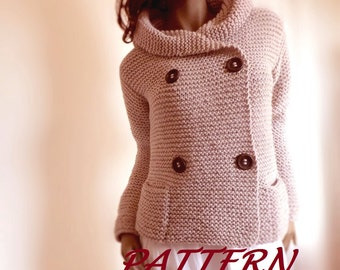 Knitting Pattern Hooded Womens Jacket Sweater Easy Knit