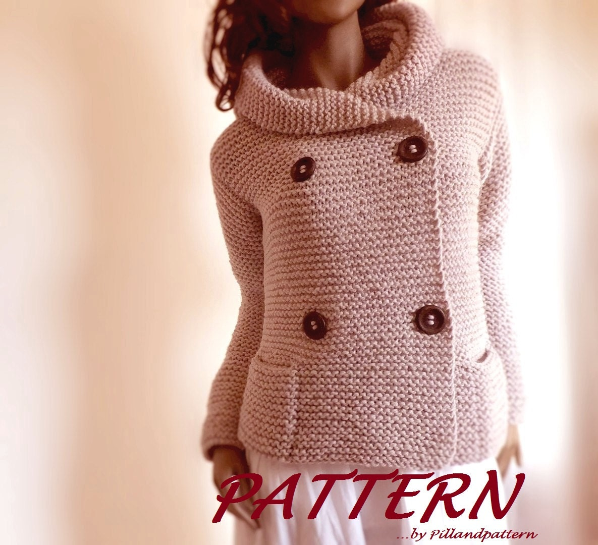 Knitting Pattern Hooded Cardigan : Knitting Pattern Hooded Womens Jacket Sweater Easy Knit