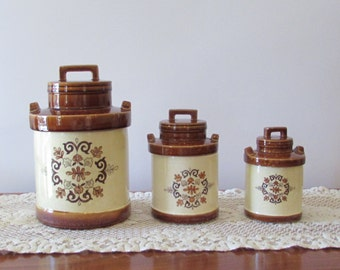 Brown and Cream Ceramic Canister Set ~ Set of 3 ~ 1970s Round Canisters ~ Retro Kitchen – Storage Containers ~ Glaze Canisters