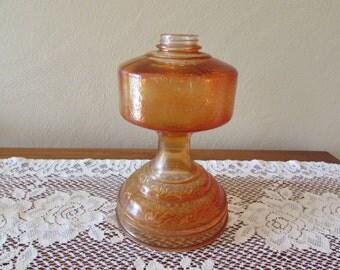 Orange Oil Lamp Base ~ Vine Pattern Glass Pedestal Kerosene/Oil Lamp ~ Flashed Coloring ~ Farmhouse Décor ~ Antique Hurricane Lamp