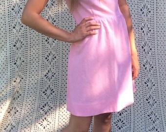 Vintage 60s Mod Pink Dress Mock Turtle Neck Mini Dress Brady Bunch Twiggy