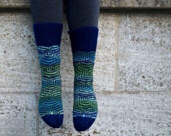 Fair Isle Socks - Meander - Hand knit Wool