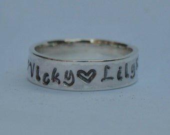 Stunning hand fabricated personalised sterling silver Father's ring - With names of your choice and hearts, Family, Dad, Daddy