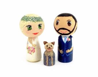 Wedding Cake Topper, Kokeshi Cake Topper, Personalized Topper, Custom Peg Wedding Toppers, Customized Bride and Groom Peg, OOAK