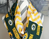 Green Bay Packers Chevron Infinity Scarf Women's Girl's NFL Superbowl Aaron Rodgers Clay Matthews Eddie Lacy Jordy Nelson Randall Cobb