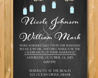 Wedding announcement, Elopement announcement, Chalkboard invite, After wedding invitation, Wedding invite