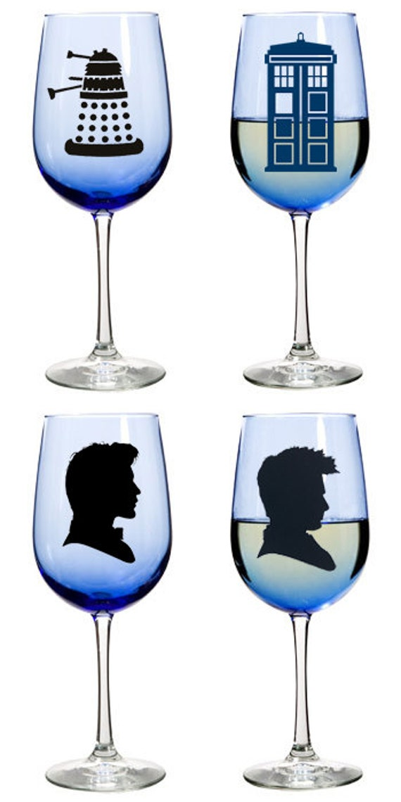 18.5oz Blue Wine Glass | Doctor Who | Tardis, Dalek, 10th/11th Doctor