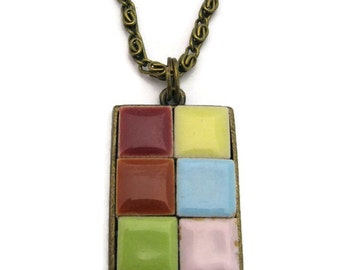 Tile Necklace Gifts Under 30 Mulitcolored Mosaic Pendant Tile Necklace Mosaic Necklace  Ceramic Pendant Tile Pendant Art Pendant