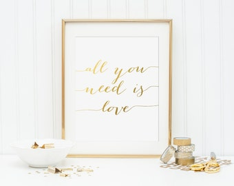 All You Need is Love Printable - INSTANT DOWNLOAD Printable - love quote printable - wedding printable - bridal shower printable - beatles