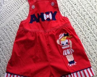 SALE* Ahoy! Vintage, nautical baby overalls/dungrees/romper/bodysuit with a little sailor motif, size 0 (6-12 months)