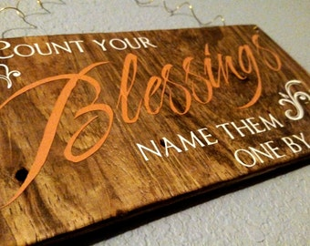 Count Your Blessings - Autumn Home Decor - Fall Home Decor - Harvest Time - Handpainted Home Decor - Wood Sign - Rustic Decor