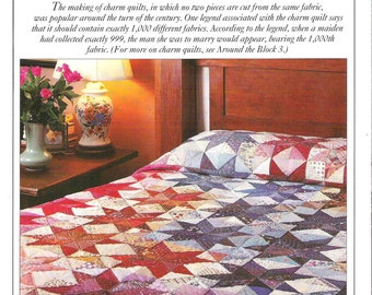 CHARM QUILT Pattern, Finished size 80 X 104 inches, Block size 12 X 12 inches. Templates Included by Best-Loved Quilt Patterns, ©1992,