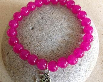 Relieves Anxiety. Healing. Rose Jade Stone Beaded Bracelet. Tibetan Silver Ohm/Om Charm. Simple Stretch Bracelet. Yoga Jewelry. Minimalist.