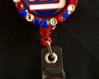 New York Giants Retractable I.D. Badge Holder, ID Badge Holder, Nurse Badge Reel, Name Badge Reel, Name Badge Holder, ID Badge Reel