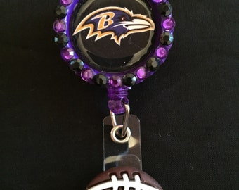 Baltimore Ravens Retractable I.D. Badge Holder, ID Badge Holder, Nurse Badge Reel, Name Badge Reel, Name Badge Holder, ID Badge Reel