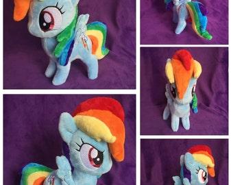 In Hand Rainbow Dash Pony Plush, Custom Plush Pony, Handmade My Little Pony Plush, Chibi Filly Plushie, RD, RainbowDash,Dashie Plush, MLP