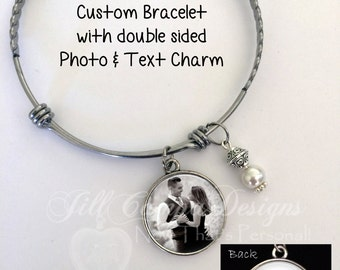 Photo charm bracelet, custom saying, custom photo charm bracelet, personalized bracelet, custom bangle bracelet, photo jewelry