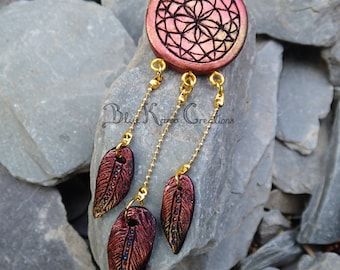 Red & Gold Dreamcatcher Necklace, Polymer Clay Autumn Feather Necklace, Native American Jewelry