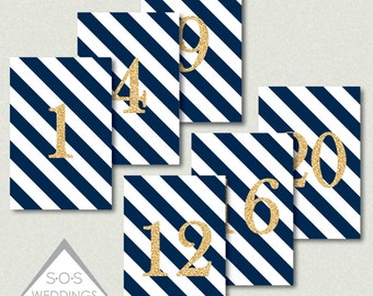 Navy and Gold Table Numbers, Wedding Table Numbers, Reception Table Numbers, Printable Table Numbers, Number Cards, Table #s, PDF, JPEG