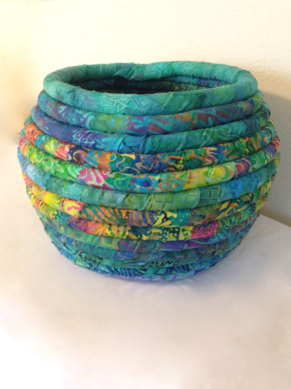 Large Batik Fabric Coiled Basket Pot