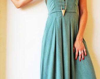 Ocean Green Maxi Dress / Bridesmaid Dress / Pleated Pockets Dress / Women Clothing / Sleeveless Dress / Women Evening Dress - Nefertiti