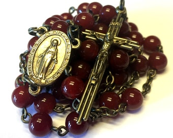 Vintage Style Catholic Handmade Rosary Featuring Red Agate Stone Beads