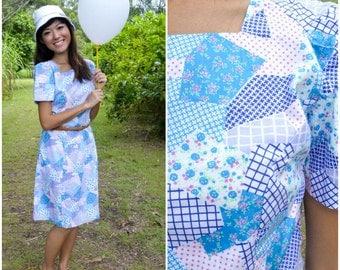 1960 Vintage Dress/ Sweet Sally Dress/ Small Dress/ Medium Dress/ Blue Dress/ Day Dress/ Picnic Dress/ Shift Dress/ Bateau Neckline Dresss