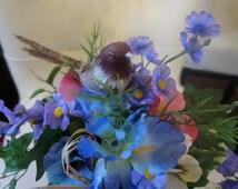 Silk Floral Arrangement; Antique Basket; Approx. 8 x 11 Inches; Spring Flowers !!!