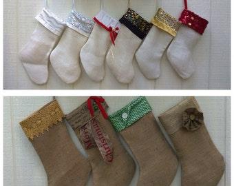 Personalized Christmas Stocking - Custom Stockings- Holiday Decor - Burlap Stocking -  Christmas Decor  Shabby Chic- Rustic Decor