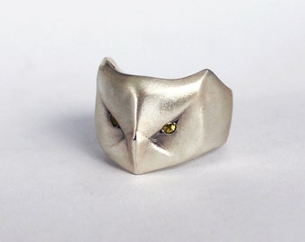 Great Horned Owl Ring with Yellow Sapphire Eyes