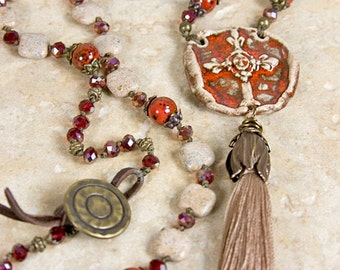 Tassel cross necklace, rustic bohemian, earthy necklace, Ceramic Pendant, long dangle necklace, tassel jewelry, bohemian necklace, long boho