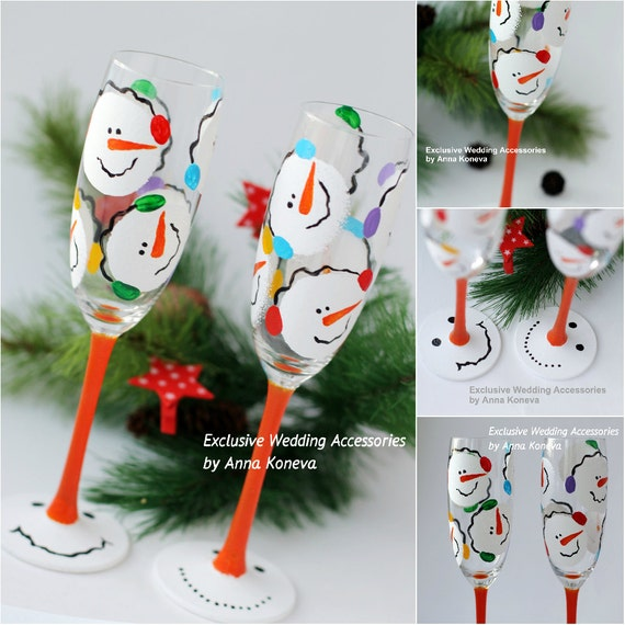Christmas gift christmas wine glasses winter snowmen hand for Christmas glass painting designs