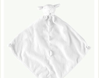 Monogrammed White Lamb Lovie / Angel Dear / Personalized Blankie / Security Blanket / Baby Blankie Gift / Animal Blankie